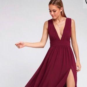 Lulu's Heavenly Hues Maxi in Burgundy small dress